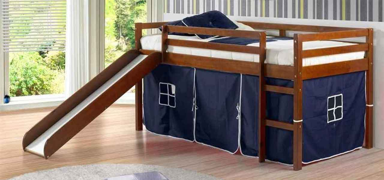 The Donco Kids Twin Loft With Slide Is A Short Bed That Ideal For Children Want To Have Extra Fun Their Area Beneath Has